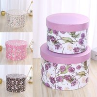 Gift Wrap 1 Pc Hat Boxes Round With Lid Floral Flower Packaging Paper Bag Gifts Bags Florist Bouquet Box Wholesale
