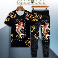 Men's Tracksuits Sportswear Dragon Suit Male 3D Tiger Short-sleeved Casual Slim T-shirt Trousers 2-piece Fish Print Pants