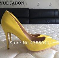 Zapatos de vestir yue jabon marca 8 10 12 cm tacones mujeres bombas stiletto brillante amarillo sexy fiesta alta para