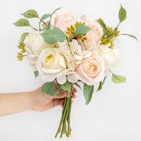 Belles grosses roses fleurs artificielles pour bouquet de mariage maison décoration de la soie rose grande tête de luxe tige de luxe coiffe décorative