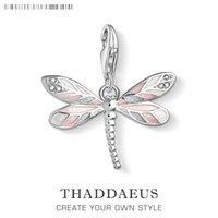 Dragonfly Pink Charms Pendentif Europe DIY Constatations Accessoires 925 Sterling Silver Mode Bijoux Cadeau pour Femmes Fille