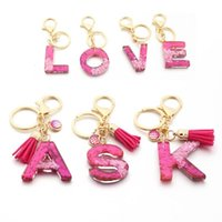 Keychains A-Z Initial Keyrings For Women Men Acrylic Letter Glitter Resin Alphabet Couple Key Ring Chains Bag Charm Accessories