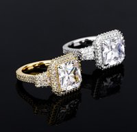 Hip Hop Claw Setting Square CZ Stone Bling Ice Out Women Men Finger Rings Male Female Fashion Jewelry wjl3570