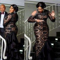 2021 Sexy Luxury Arabic Aso Ebi Black Evening Dresses High Neck Long Sleeves Full Lace Crystal Beading Bling Mermaid Ruffles Party Dress