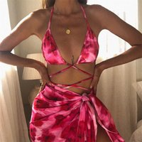 2021 Summer The New Listing Three Piece Sexy Bikini Tie Dye Printed Corded Drape Swimsuit Women Fashion Clothing Swimsuit DHL