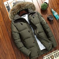 Men's Down & Parkas Winter Thick Hooded Jacket Casual Mens Solid Color White Duck Coat With Fur Collar Male Warm Zipper Outwear Top