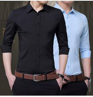 Men's Casual Shirts White Shirt Long Sleeve Non Ironing Slim Fit Business Work Clothes Autumn Professional Dress