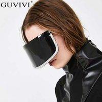 Hombres Rhinestone Mujeres Overzized Diamond Mask Gafas de sol Designer de la marca Gafas de sol Gafgle Espejo Eyewear Black