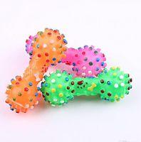 개 장난감 다채로운 점선 dumbbell 모양의 개 장난감 짜기 삐걱 거리는 가짜 뼈 애완 동물 씹는 장난감 개를위한