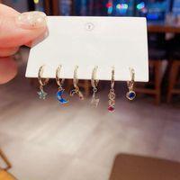 Hoop & Huggie ANENJERY 6 Pieces set Star Moon Rainbow Earrings Set 925 Sterling Silver Colored Zircon Earring Cute Student Accessories