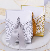 New 10pcs Creative Golden Silver Ribbon Wedding Favours Party Gift Candy Paper Box Cookie Candy gift bags Event Party Supplies wjl0062