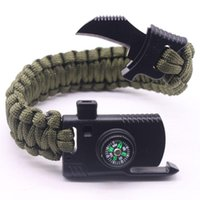 Charm Bracelets Outdoor Men Women Braided Paracord Multi-function Camping Rope Bangles Compass Whistle Kn