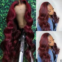 Burgundy Color Human Hair Wig 13x4 Lace Frontal Wig 180% Brazilian Transparent Lace 4x4 Closure 99j Colored Deep Wave Wigs