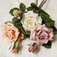 Flores decorativas grinaldas belas rosa seda artificial grande decoração home decoração branca falsa decoração do casamento do vintage