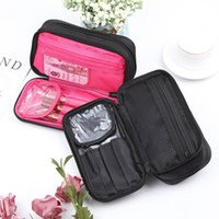 Mini Double Layer Cosmetic Bag Travel Organizer Functional Makeup Pouch Vanity Case Toiletry Brush Storage Accessories Pencil Bags