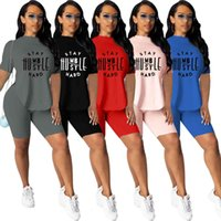 Summer Women Tracksuits Two Pieces Set Designer 2021 New Solid Colour Letters Printed Short Sleeve Pants Ladies Fashion Casual Suits S-XXL