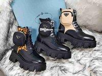 Diseñadores de mujeres ROIS Botas de cuero Ankle Martin Boot y Nylon Military Inspired Combat Lady Botines al aire libre Botines Blouch Se adjunta al tobillo con bolsas 35-41 Q853 #
