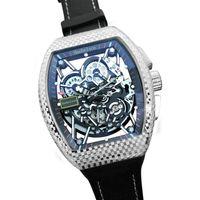 Commercio all'ingrosso 35-02 fibra di carbonio Montre de luxe mens orologi orologi da polso movimento automatico movimento scheletro quadrante tessuto cinturino in tessuto Hanbelson