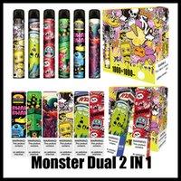 Монстр Двойной 2 в 1 Одноразовые E-Cigarettes Специальный дизайн 3 + 3 мл 2000 Обслуживание Электрические сигареты POD OEM Доступные распыления Vape Pen VS