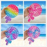 Favor de la fiesta arco iris lollipop en forma de estrés alivio juguete pellizco música suave sensorial regalo reutilizable niños y adultos alivio de estrés Educación interactiva
