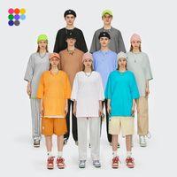 Inflación Verano Nuevo Estilo Unisex Casual Llanura Camisetas Equipo Cuello Cuello de Algodón Camisetas de gran tamaño Hombres Moda Hip Hop T-shirts 0057s21 210325