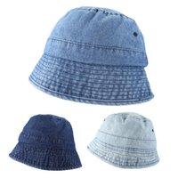 Japonés Unisex Vintage lavado Denim Bucket Hat Harajuku Hip Hop Al aire libre protector solar Senderismo Panamá Panamá Pescador gorra ancho sombreros