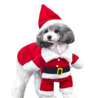 Dog Apparel Christmas Cat Clothes Warm Santa Claus Red Scarf Winter Pet Coat Suit With Cap Clothing Halloween Costume