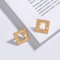 Luxury Ear Stud Korea Style Street Snap Geometry Square Earrings Small Harbor-Style Simple Studs