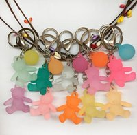 2021 key chain jelly color bear car keychain bag pendant manufacturers direct sales