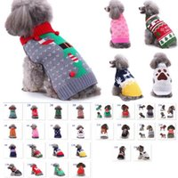 Pet Clothes Santa Costumes Striped Knitted Christmas Dog Apparel Snowflake Reindeer Outerwears Coat Halloween LLD10325