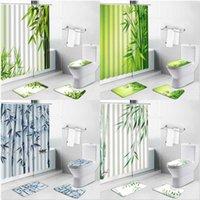 Shower Curtains Green Plant Bamboo Printed Non-Slip Bath Mats Spring Scenery Leaf Bathroom Decor Set Rug Toilet Lid Cover Carpet