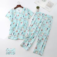 Damen Nachtwäsche 3XL Pyjamas Set Kurzarm T-Shirt Lange Hosen Sommer Sexy Pyjama Mama Baumwolle Homewear Cosy Plus Kpacotakowka CF