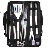 9 teile / satz Edelstahl BBQ Werkzeuge Outdoor Barbecue Grillgeräte mit Oxford Taschen Edelstahl Grill Clip Pinsel Messer Kit OWE7512