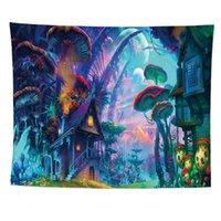 Arazzo di funghi Home parete Appeso Art Decor Soggiorno Camera da letto Sfondo Decorazione 3D Fairytale Fantasy Tapestries BWE7507
