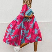 Летние цветочные печати половина рукава платье женщин мода повседневная o шея свободные a-line платье старинные элегантные женские вечеринки vestidos n4ip #