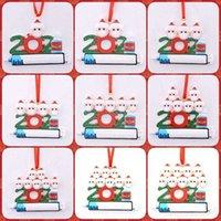 Transversal Fornecimento de Fronteira Novo 2021 Papai Noel Pingente Pessoa Pessoa Pessoa Epidêmica Prevenção DIY Árvore de Natal PVC Glitter Hanging Tag