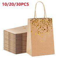 Gift Wrap 10 20 30 Pcs Bag Kraft Paper With Handle Recyclable Yellow Leather Love Handbag Birthday Wedding Christmas Celebration