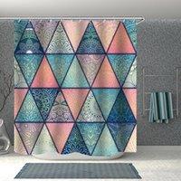 인쇄 대리석 기하학적 욕실 샤워 커튼 방수 후크 목욕 만화 아이 선물 재미 있은 양탄자 럭셔리 패션 커튼