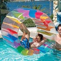 아이 풀 플로트 장난감 풍선 무지개 색상 물 롤러 잔디 공 수영 재미있는 해변 장난감 튜브