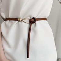 Belts Women Thin Golden Buckle PU Leather Strap For Dress Trousers Casual Black Ladies Female Designer Waistband