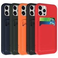 액체 실리콘 카드 슬롯 홀더 부드러운 TPU 휴대 전화 케이스 iPhone 13 12 11 Pro Max XR XS x 8 7 6 플러스 삼성 S21 울트라 노트 20 A32 A42 A52 A72 5G