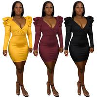 Designer mulheres vestidos pu puff manga v pescoço slim bodycon vestido casual cor sólida split mulher vestidos vestidos