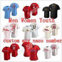 Benutzerdefinierte Philadelphia 2021 Phillies Jersey 3 Bryceharpe 17 Rhys Hoskins 10 JT Realmuto Männer Frauen Jugend Kinder Jeder Name Number Jerseys genäht