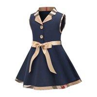 2021 Sommar Baby Girls Princess Dress Kids Trun-down Collar Ärmlös Klänningar Barn Bomull Casual Kjolar Tjej Vest Kjol med Bowtie