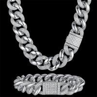 Pendant Necklaces 100% Zircon CZ Hip Hop Miami Cuban Link Chain 14mm Bracelet Men Necklace Drop Rapper Jewelry Bling Party