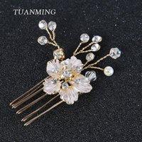 Cabelos Barrettes Barrettes Tuanming 1 Pc Acessórios De Ouro Pequeno Flor Do Casamento Pente Noiva e Clip Crystal Pearl Jóias para mulheres enfeites