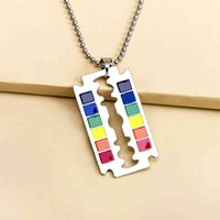 Necklace Men's Rainbow Dog Tag Pendant Gay Lgbt Les Love Blade Beaded Chain Necklaces for Boy Jewelry