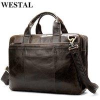 Briefcases WESTAL Briefcase Male Messenger Bag Men's Genuine Leather for Document Men Shoulder Travel Handbags Satchel Laptop 14 InchXABG