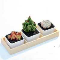 3 Grids Flower Pots Box Tray Wooden Succulent Plant Fleshy Flowerpot Containers Home Decor HHD6905