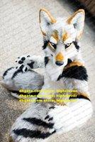 Cinza Branco Longo Pele Furry Husky Cão Lobo Raposa Fursuit Mascot Traje Adulto Personagens De Cartoon Terno Família Decoções Grande Partido ZZ7583
